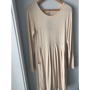 Casual Beige Cotton Dress with pockets